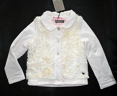 Jean Bourget Veste Gilet 4 Ans En Fausse Fourrure Blanche Tiny Fall Girl Neuf