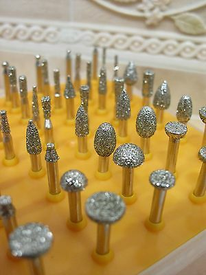 50 x Diamond coated rotary SMALL head burr point grinding jewelry tools GRIT 40