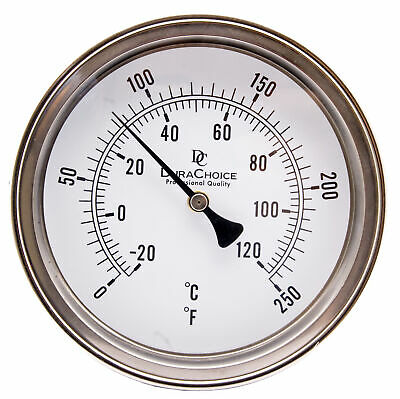 "Industrial Bimetal Thermometer 5"" Face x 2-1/2"" Stem, 0-250F w/Calibration Dial"