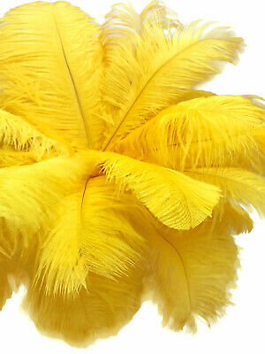 """200 Feathers - 9-13"""" Yellow Ostrich Drab Wholesale Wing Bulk Centerpiece Costume"""