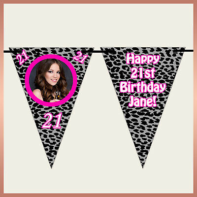 Leopard Print Personalised Photo Party Invitations x10-21st 30th 40th 50th PF3