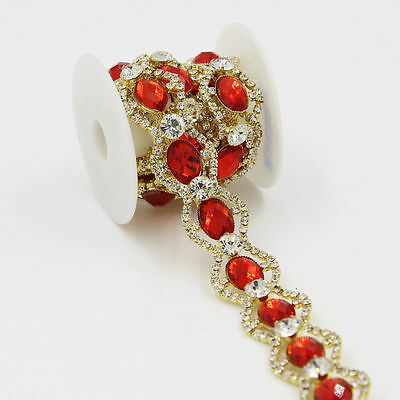 1Yd Deluxe Clear Rhinestone Red Crystal Trims Costume Gold Tone Trim Applique