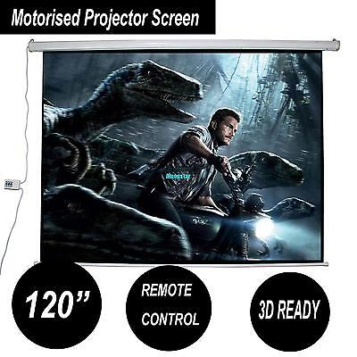 """120"""" Projector Screen Electric Motorised Home Theatre Cinema HD TV Projection"""