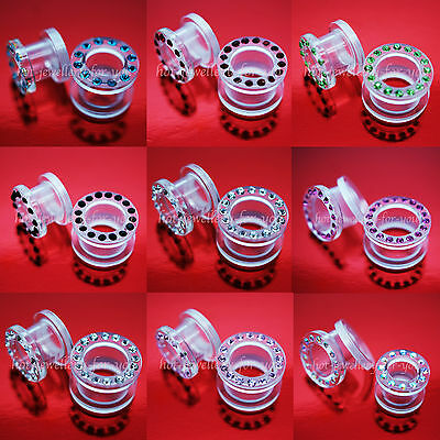 Clear Acrylic Screw Back Easy Fit Flesh Tunnel Ear Plug Crystal Rhinestones Gems