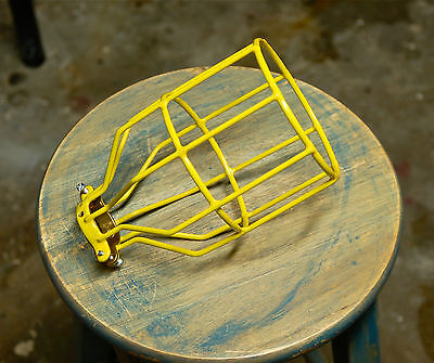 Yellow Bulb Guard, Clamp On Lamp Squirrel Cage, Vintage Trouble Light Industrial