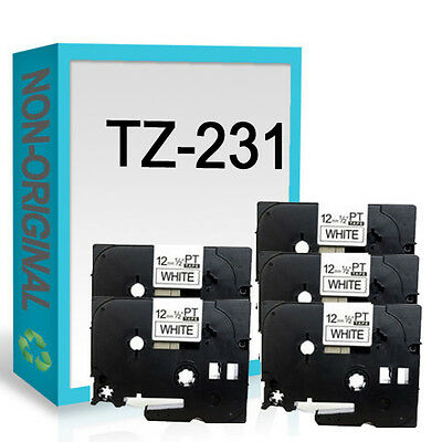 5 Compatible Label Tape fits Brother TZ231 TZe231 12mm x 8m P Touch