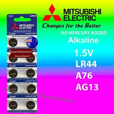 10 x LR44 Mitsubishi New 0%Hg Battery Genuine 1.5V A76/AG13 Alkaline Batteries