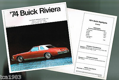 1974 BUICK RIVIERA Brochure / Catalog: 455, Stage 1