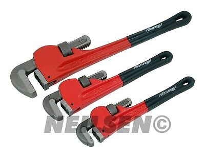 Neilsen 3pc Adjustable Stilson Pipe Wrench Tool Set Monkey Plumbers Pliers New