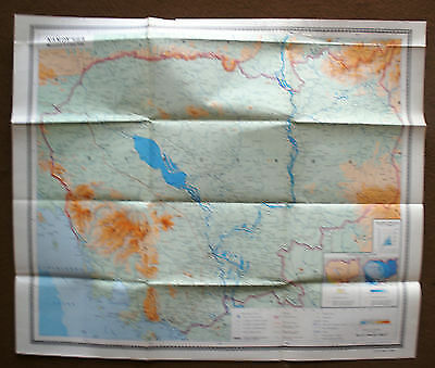 Vintage Soviet Wall Map Campuchea Cambodia  Moscow 1980