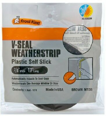 "Thermwell Frost King 7/8"" x 17', Brown, V-Seal Weather-Strip, Self Stick 2 Pack"