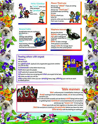 A2 size laminated learn RESPECT educational teaching school kids learning poster