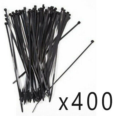 "400 Pack Lot Pcs - 8"" Inch UV Resistant Nylon Cable Zip Wire Tie 50 lbs - Black"