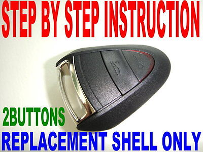 NEW SHELL FOR PORSCHE KEY FOB CASE DIY INSTRUCTION CHIP KEYLESS ENTRY REMOTE 2BT