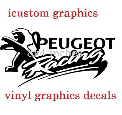 "small 8x4"" peugeot racing vinyl car side sticker graphic sport gti 106 206 decal"