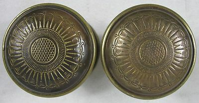 Pair of Early 1800's Heavy Solid Brass Colonial Sunburst Doorknob Set
