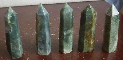 5 Natural Beautiful Green Agate Crystal Points Polished Healing