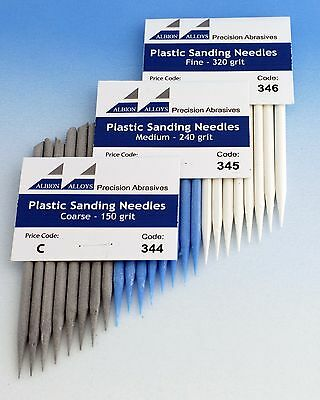 Albion Alloys 345  8 x Plastic Sanding Needles Medium 240 Grit New Pack