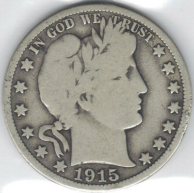 TMM* 1915-D Uncertified Silver Barber Half  Dollar VG