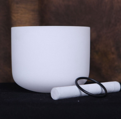 New Frosted Quartz Crystal Singing Bowl 10'' F Musical Note Heart Chakra