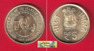 India 2012 (2007) 5 Rupees 150 Years Kuka Movement Unc Commemorative Coin Unc