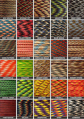 Pattern 550 Paracord Mil Spec Type III 7 Lanyard Keychain Survivor 10-100 ft