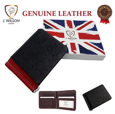 Designer J Wilson Genuine Mens Real Leather Thin Wallet Money Clip Credit Card
