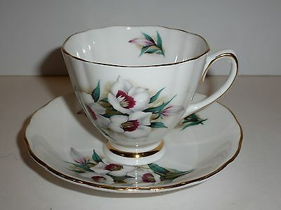 Colclough England Bone China Cup and Matching Saucer, White and Maroon Florals