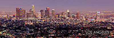 Los Angeles Skyline COLOR DUSK LA Griffith Obs 12x36 Photo Print Poster Pano