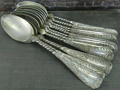 "Antique Set of 12- Ornate Twisted Handle Sterling Silver 4.75"" Coffee Spoons"