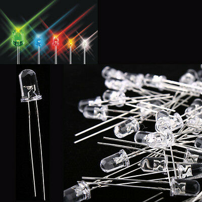 50Pcs LED Luminous Diode 5mm Discrete 20mA Red /Green /Blue /White /Yellow Light
