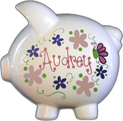 Hand-Painted Personalized Flowers and Butterflies Pastel Ceramic Piggy Bank