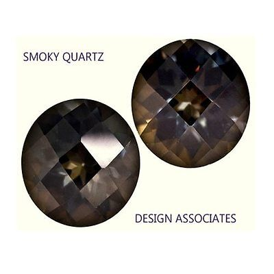 7 Mm Smoky Quartz Round Cut Checkerboard All Natural Aaa 3 Piece Set
