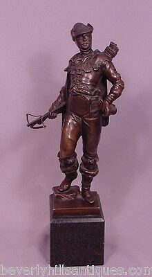 Antique Bronze Figure of Archer with Cross Bow Signed Oskar Gladenbeck