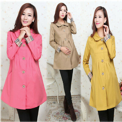 Pregnancy Maternity Trench Coat Collared Elegant Trendy 3 Color M/L/XL/2XL 059