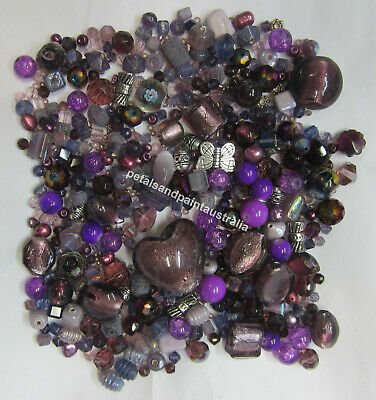 Mauve & Purple Bead Mix Foil Glass Metal Pearl Lampwork & Mixed Assorted Beads