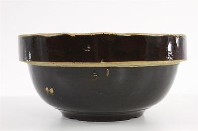 "Vintage Kitchen Primitive Early Brown Pottery Glazed Medium 8.25"" Mixing Bowl"