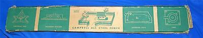 Vtg Campbell All Steel Green Folding Toy Fence - Dolls House, Xmas Tree/putz Iob