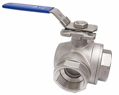 """2"""" Stainless Steel (316) 3-Way Ball Valve - T Port, With Mounting Pad 1000PSI"""