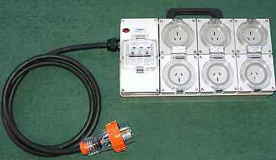 Power board 15 Amp - 20 Amp 3 phase supply with 6x15 Amp RCBO protected outlets