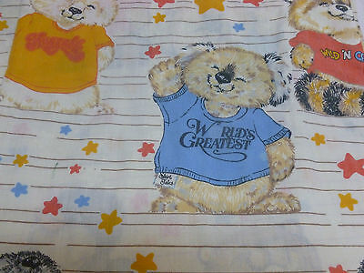 Vtg Retro 80s 1980 Hallmark Shirt Tales Flat Twin Bedding Sheet Craft Fabric