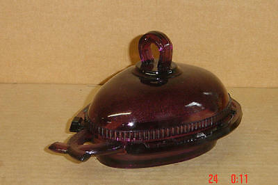 EAPG AMETHYST COVERED HORSESHOE BUTTER CANDY RELISH DISH LG WRIGHT 1940