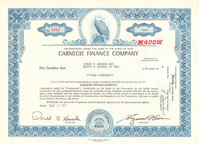Carnegie Finance Company > 1972 Ohio stock certificate share