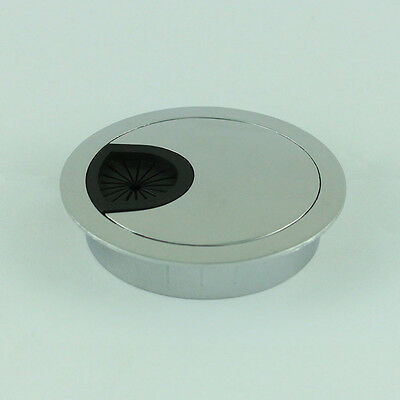 """metal desk wire grommet grey 2.25"""" table top hole cover 60mm silver"""