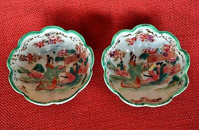 2 VINTAGE ORIENTAL HAND PAINTED PORCELAIN GEISHA FOOTED BOWLS - VERY DELICATE