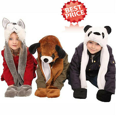 Childrens One Size Unisex Winter Furry Animal Trapper 3 in 1 Hat, Gloves, Scarf