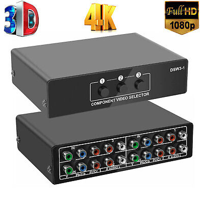 3-Way Component AV Switch Selector 3 in 1 Out Switcher for Xbox 360 Wii PS3 PS4