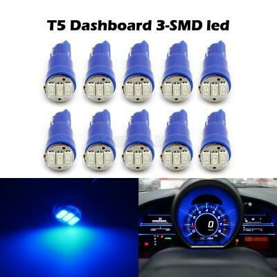 10x Blue 37 74 2721 T5 Hole 3-SMD LED Instrument Panel Dash Light Bulb Lamp