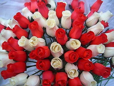 100 Red & Cream Wooden Roses Wholesale Mixed Job Lot Home Decor Wedding Flowers