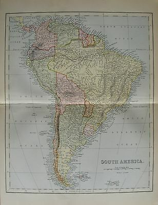 Antique Victorian c1870 Map of South America